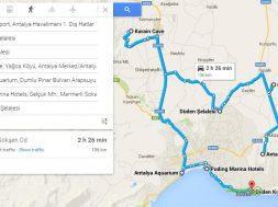 2 Günlük Antalya Turu, Antalya Gezi Planı, Antalya Gezisi Haritası