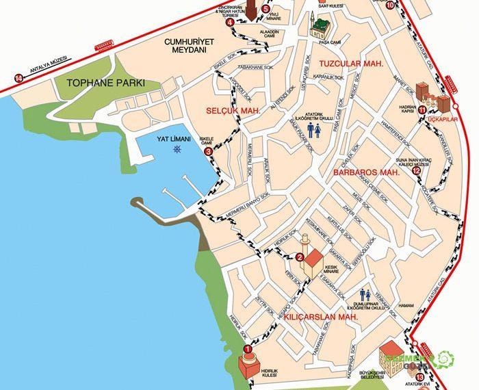 2 Günlük Antalya Turu, Antalya Gezi Planı, Antalya Kaleiçi Yürüyüş Haritası