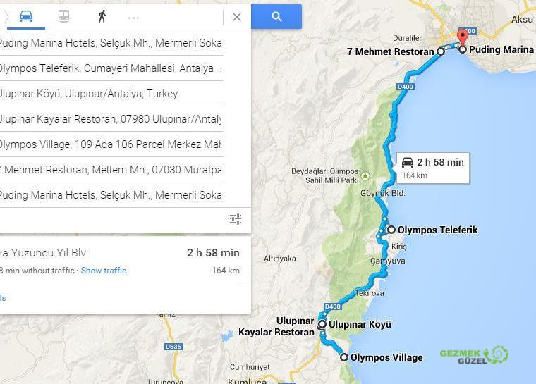 2 Günlük Antalya Turu, Antalya Gezi Planı, Olympos Gezisi Haritası